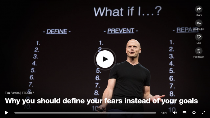 Clapham personal trainer James Staring recommends Tim Ferris' Define Your Fears